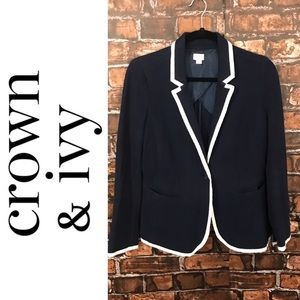Crown & Ivy Navy and White Blazer